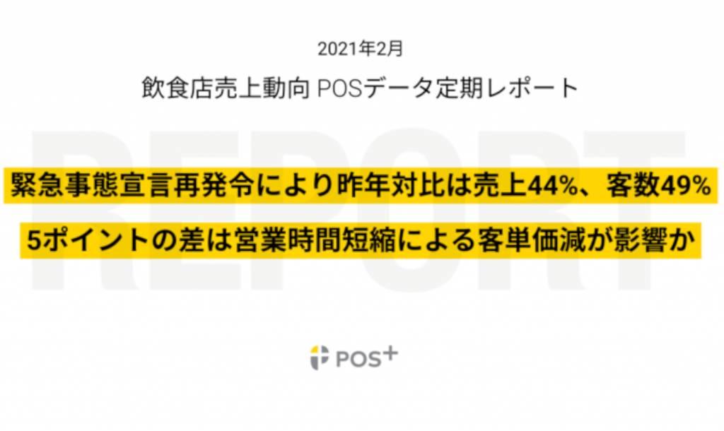 クラウド型モバイルPOSレジ「POS+(ポスタス)」 飲食店売上動向レポート2021年2月
