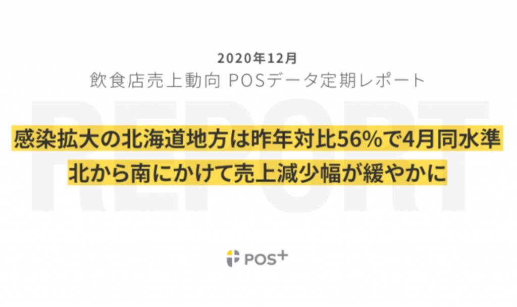 クラウド型モバイルPOSレジ「POS+(ポスタス)」 飲食店売上動向レポート2020年12月