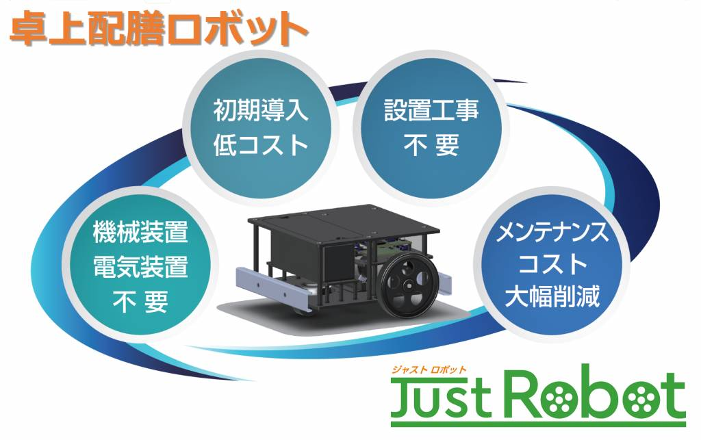 店舗の人手不足と集客の悩み、両方を解決する自動配膳ロボット『JustRobot』