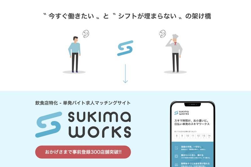 飲食店特化の単発ワークプラットフォーム「sukima works(スキマワークス)」提供開始!(PR TIMES)