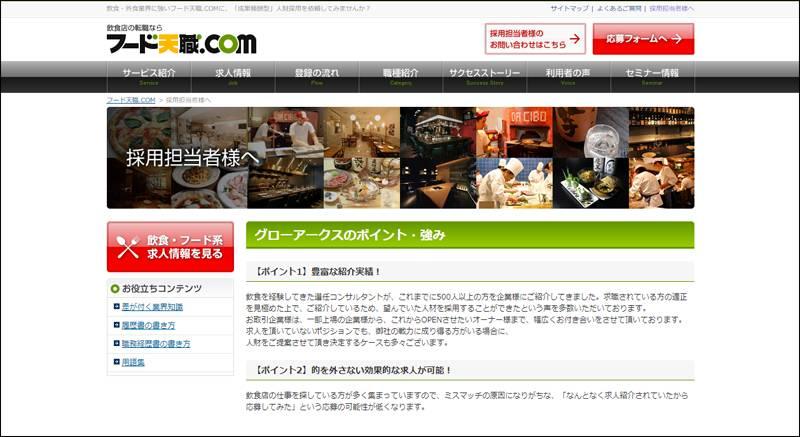 フード天職.comの公式サイトキャプチャ